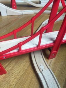 Track underneath Brio suspension bridge train