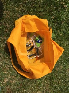 Yellow waterproof bag shown open with goggles inside on grass