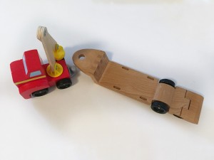 Melissa and Doug car loader front and construction vehicle flatbed won't connect