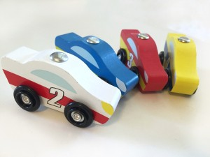 cars from Melissa and Doug wooden car loader set
