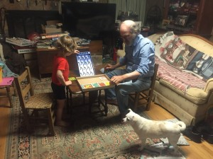 Toddler and grandparent grown up adult playing avalanche marble game blue plinko style board