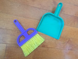 Schylling purple and yellow hand brush with green dustpan
