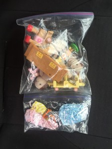 Calico Critters stored in Ziploc bag with clothes stored in snack size bag