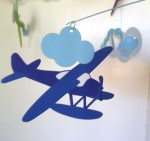 Blue seaplane from Djeco flights of fancy paper mobile
