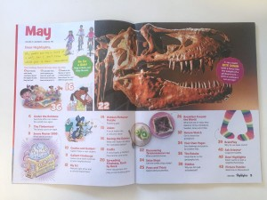 Table of contents from May 2018 Highlights children's magazine