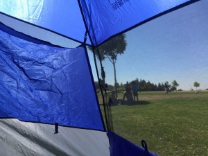 view from inside a Lightspeed sun tent sport shelter window