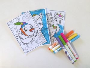 Whisker Haven mini coloring sheets from Crayola shown partially colored with six mini markers