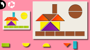 Tangram Mania app for kids screenshot of house shape puzzle