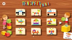 Tangram Mania app menu for kids tangram puzzles app