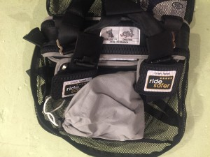 Ride Safer Harness packed into included backpack