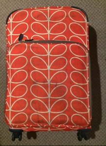 Orla Kiely orange large suitcase from Target line