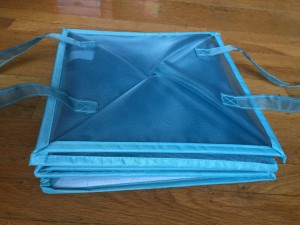 Blue mesh laundry bin tote hamper empty folded flat