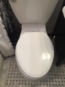 Closed white toilet in bathroom with white and black floor tiles