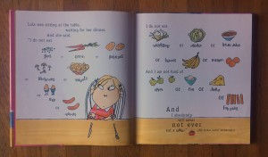 Lola lists the foods she will not eat in I Will Never Not Ever Eat a Tomato book