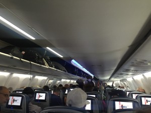 Overhead bins on board airplane