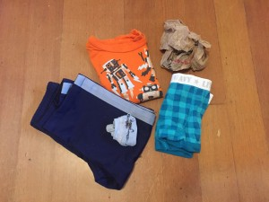 Preschooler spare clothes for school laid out folded