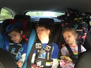 Three car seat in a row Mazda 6 Ride Safer Harness in middle position