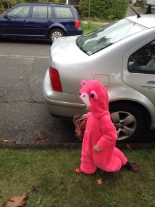 Toddler in pink fox homemade fuzzy costume with hood