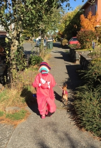 Child swearing pink fox costume walking dog in pink sweater on sidewalk