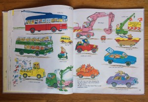 Cars and Trucks and Things That Go page spread Richard Scarry book inside
