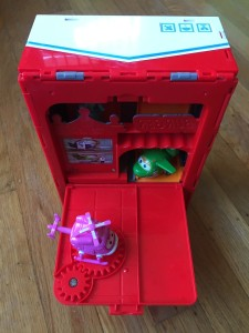 Super Wings Pack N Go New York playset with back open to reveal inside