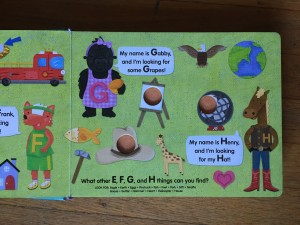 G and H letter page from Poke-a-dot Eye Spy board book by ikids
