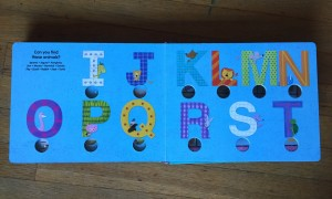 Letter review at the end of Poke-a-dot Eye Spy board book