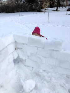 Snow fort wall with child's head barely visible behind it