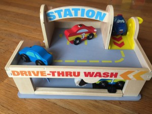 Melissa and Doug Service Station Car Wash gas parking garage with elevator with other cars not included in set