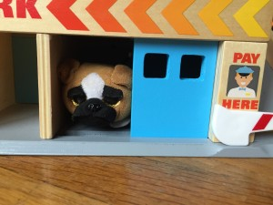 Beanie Boo dog Ty peeking out from blue garage door in Melissa Dough Service Station Parking Garage play set