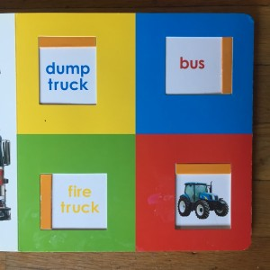 Vehicle names page from Slide and Find Trucks board book by Roger Priddy