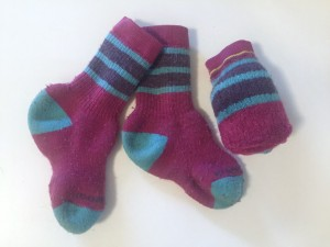 Smartwool wool socks for kids toddlers babies in pink with blue stripes