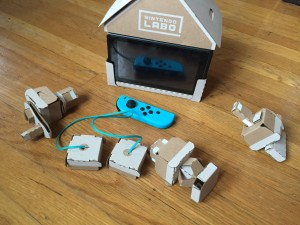 Nintendo Labo house made from cardboard and all its accessories crank handle controller and more