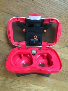 View-Master Virtual Reality three dimensional viewer shown open and empty
