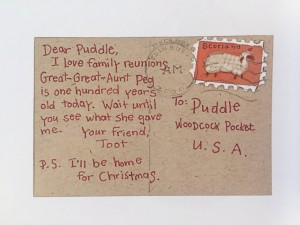 Toot and Puddle pig postcard from I'll Be Home for Christmas tale book