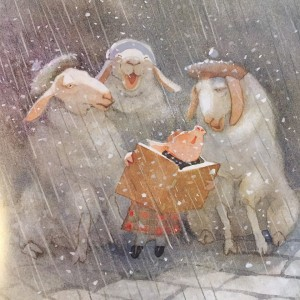 Toot singing carols with Scottish sheep in snow from I'll Be Home for Christmas