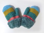 Arctic Paws Kids Mittens knit sherpa lined bright colors and patterns blue, yellow, green, pink stripes