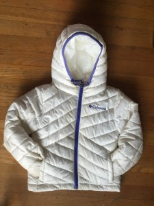 Columbia Kids Powder Lite girls puffer jacket white with purple trim hood front pockets