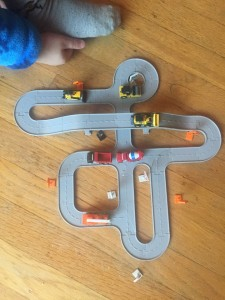 Layout B from Driven Pocket series toy construction bridges and trucks tiny play set