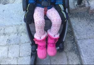 Champion girls pink snow boots pale pink fur trim Velcro closure preschooler riding in stroller
