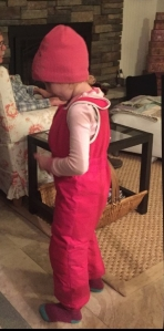 Child wearing pink snow bib overalls Columbia Frosty Slopes set inside