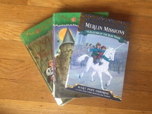 Magic Tree House Merlin Mission series book 8 30 and 48 in a staggered stack