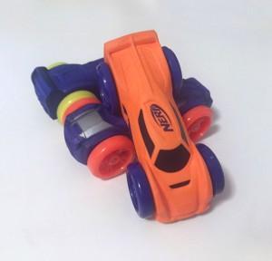 Nerf Nitro foam vehicles cars orange purple blue with purple orange and yellow wheels