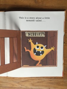 Nibbles the book monster page from Usborne book