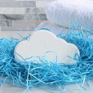 Bella Grace Bath Rainbow Bath Fizzy bomb white cloud on shredded blue paper packaging