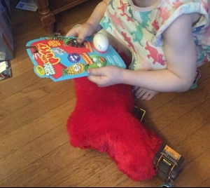 Child holding scented Silly Putty package pulled from red fuzzy Christmas stocking