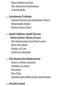 Table of contents from Sara Zaske's Achtung Baby parenting German book