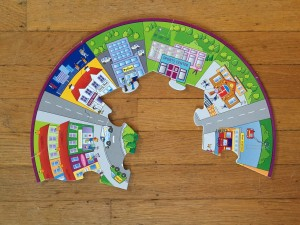 Inner ring of Infantino When I Grow Up puzzle partially assembled