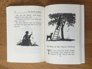 Beginning of chapter from Boxcar Children book series by Gertrude Chandler Warner with black and white illustrations