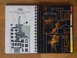 City landscape doodle mania scratch and sketch art spiral notebook